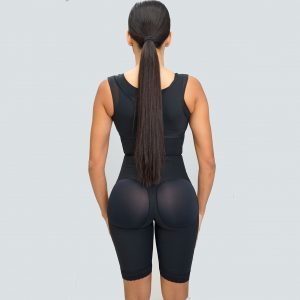 High Compression Bodysuit Lateral Zipper with Internal Hooks Support